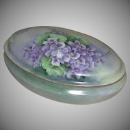 Hand Painted Porcelain Dresser Vanity Box Violet Motif Latrille Freres Limoges France marked