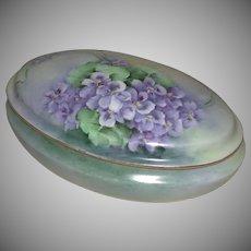 Hand Painted Porcelain Dresser Vanity Box Violet Motif Latrille Freres Limoges France marked