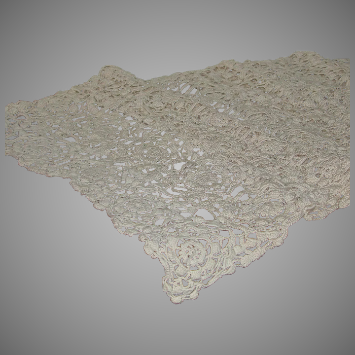 Exceptional Hand Crochet Dresser Buffet Scarf Doily Long 52 Inches