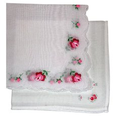 Two Red Pink Rose Flower Embroidered White Handkerchiefs Hankies
