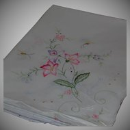 """Cotton Embroidered Rectangular Tablecloth Coverlet Floral Motif 65"""" by 101"""""""
