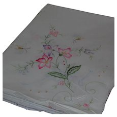 """Large White Cotton Embroidered Rectangular Tablecloth Coverlet Floral Motif 65"""" by 101"""""""