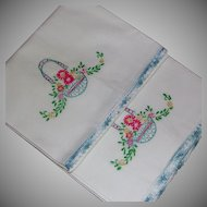 Set Embroidered White Cotton Pillowcases Flower Basket Motif Crochet Scallop