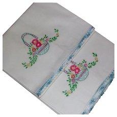 Set Embroidered White Cotton Pillowcases Flower Basket Motif