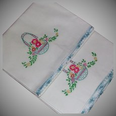 Set Embroidered White Cotton Pillowcases Flower Basket Motif