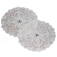 Two Matching Oval Ecru Embroidered Doilies Red Floral Inset