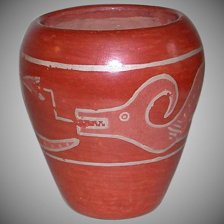 Early Native American Red Clay Avanyu Serpent Pottery Vase Ll