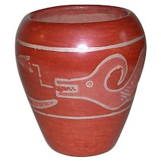 Early Native American Red Clay Avanyu Serpent Pottery Vase