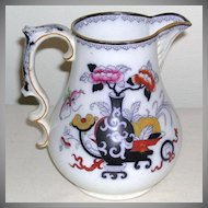 Gaudy Ironstone Polychrome Milk Jug Pitcher Oriental Pattern Dragon Motif 1800s