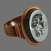 Victorian 10k Rose Gold Intaglio Cameo Ring Civil War Era unmarked