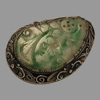 Carved Green Jade Jadeite Pin Brooch marked China