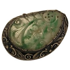 Carved Green Jade Jadeite Pin Brooch marked China