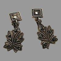 Marcasite Dangle Screw Back Earrings Sterling marked early 1900s