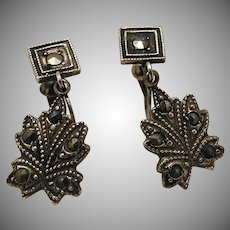 Marcasite Dangle Screw Back Earrings Sterling marked early 1900s