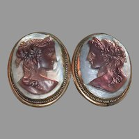 Carved Abalone Cameo Screw Back Earrings marked 1930-40s