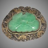 Carved Green Jade Silver Filigree Seed Pearls Brooch Pin marked China c. 1930s