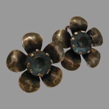 Sterling Flower Petal Blue Stone Screw Back Earrings c. 1940s