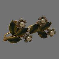 Enamel Floral Screw Back Earrings Krementz marked
