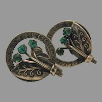Green Stone Screw Back Earrings Silver Mexico marked