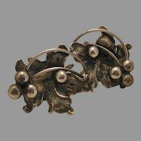 Vintage Sterling Grape Leaf Design Screw Back Earrings marked