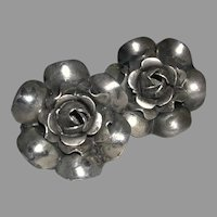 Flower Design Screwback Earrings Sterling marked