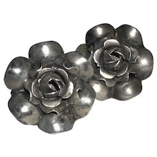 Flower Design Screwback Earrings Sterling marked