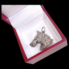 Antique Victorian Sterling Horse Head Pocket Watch Chain Fob - Red Tag Sale Item