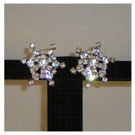 Vintage Rhinestone Clip-On Earrings in a Star Shape