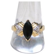 14K Gold Marquise Navette Sapphire and Diamond Ring