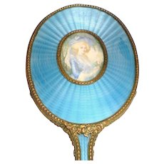 Austrian Bronze-Doré Guilloche Hand Mirror with Portrait