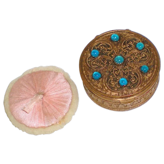 Turn of the Century French Bronze Compact with Cabochons