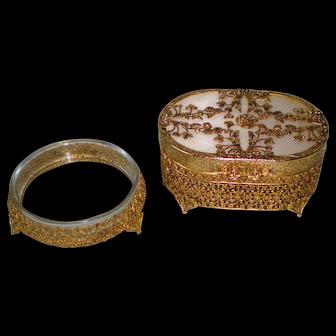 Vintage Ormolu Trinket Box and Powder Jar