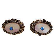Vintage Mother-of-Pearl Earrings with Rhinestones