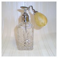 DeVilbiss Vintage Cut Crystal Perfume Bottle with New Atomizer