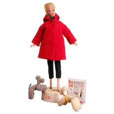 """12.5"""" Rare Bild Lilli With Original  Stand and Two Poodles that are her pets! Newspaper too!! Original Coat!"""