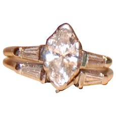 Platinum Wedding Set 1.44 Carat Marquise Shape Center Stone With Baguettes Clarity S1 Color G to I Appraised $11,248.00