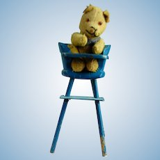 """4"""" Tiny German Jointed Teddy Bear In Original Wedgwood Blue High Chair!"""
