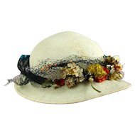 Very Rare Original Vintage Panama Straw  Hat With Label! And Flowers!