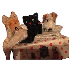 Three Steiff Wool Puppets! Cat Fox Dog