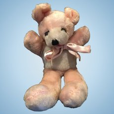 "8"" Pink Mohair Teddy Bear  sooo Cute!"