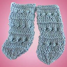 Baby Blue Jumeau Hand Knit Socks!!