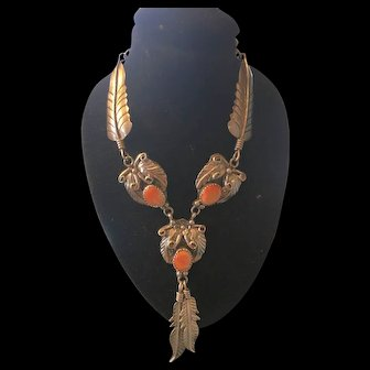 Fabulous Sterling and Coral Necklace!