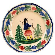 "9""  HB Quimper Plate From France! Signed"