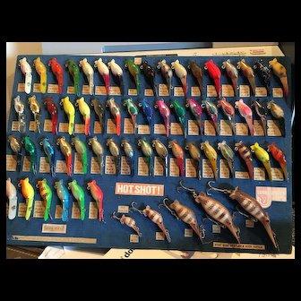 Rare Luhr Jensen Sample Board Hot Shot Lures 1979