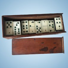 Doll Size Ivory Boxed Dominos from 1842!