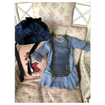 "Blue Satin Dress with Satin Matching Bonnet fits appt 22"" Doll."