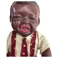 1930's Black Americana wind-up figurine Japanese Celluloid crying Baby Boy Watermellon Pickaninny Poor Pete Doll Toy!