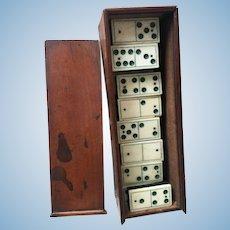 Antique Set of Dominos Doll Size! In original wooden Box!