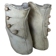 Dolls White Antique Boots with All buttons intact!