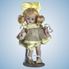 Rare 1951 Ginny Easter Doll With Huge Yellow Stapled Bow!Highlighted in Ginny Book!